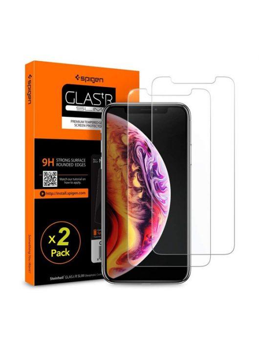 """Spigen """"Glas.tR SLIM"""" Apple iPhone 11 Pro / Xs / X Tempered kijelzővédő fólia (2db)"""